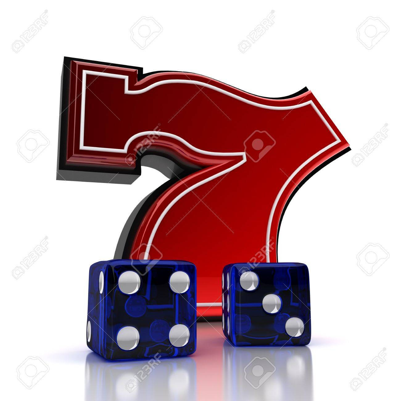 Lucky number seven with dice over white background Stock Photo - 8853470