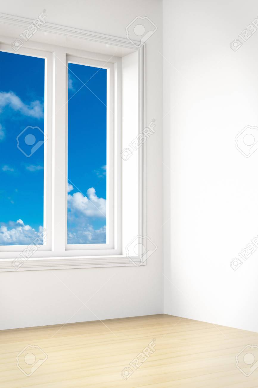 Beautiful view out of a modern unfurnished room Stock Photo - 9344948