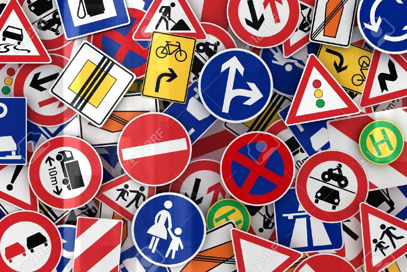 Many european traffic signs mixed together Stock Photo - 9553385