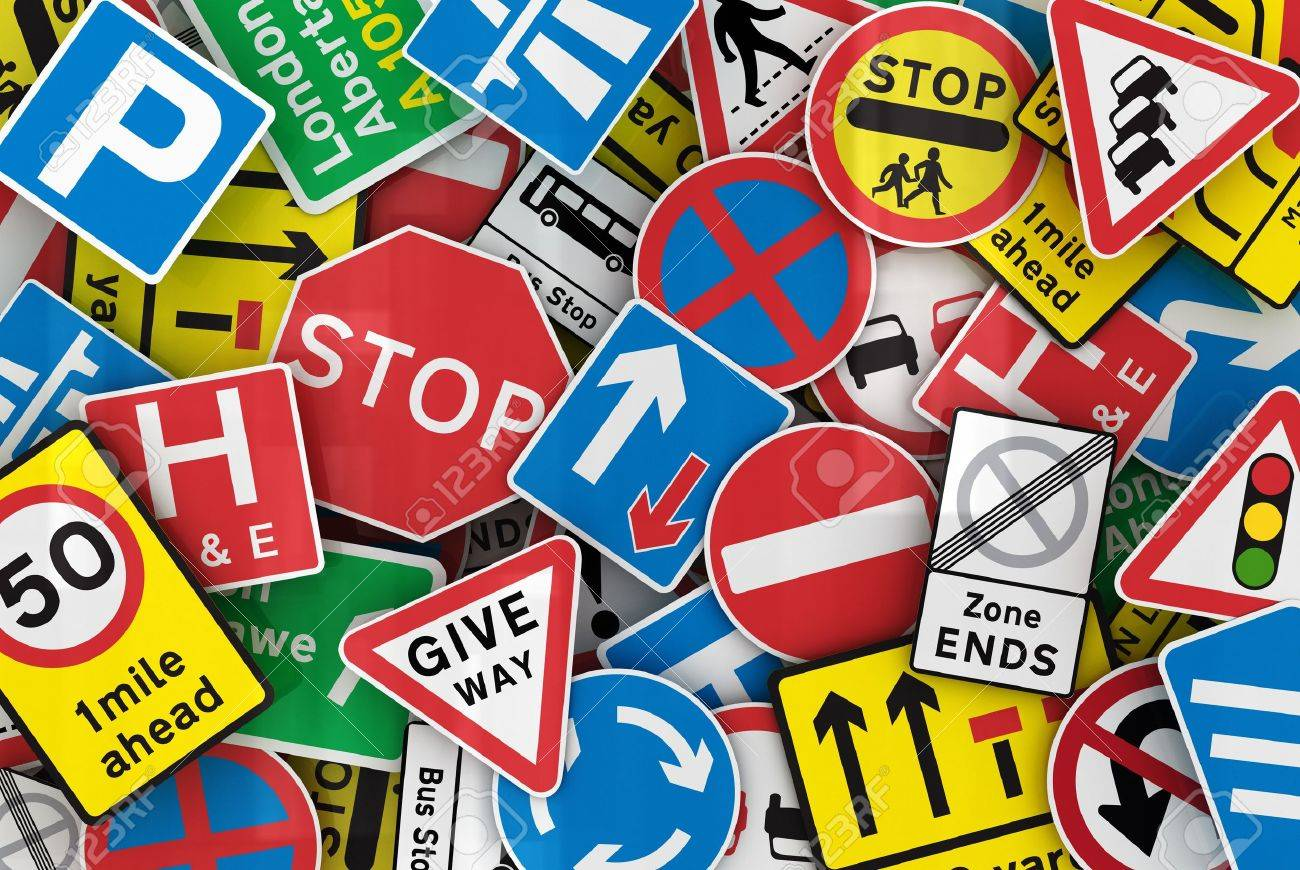 Chaotic collection of traffic signs from the United Kingdom Stock Photo - 9951814