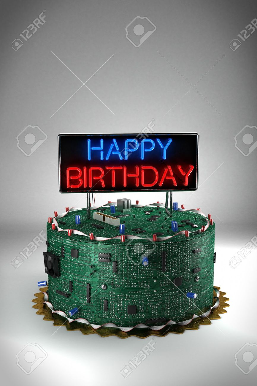 Awe Inspiring Fun Birthday Cake For Geeks Stock Photo Picture And Royalty Free Funny Birthday Cards Online Elaedamsfinfo