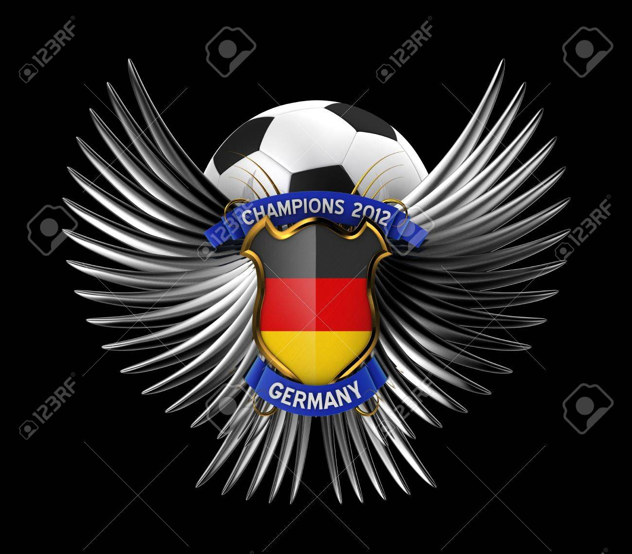 Germany Soccer Ball - easy to isolate over black background Stock Photo - 11866112