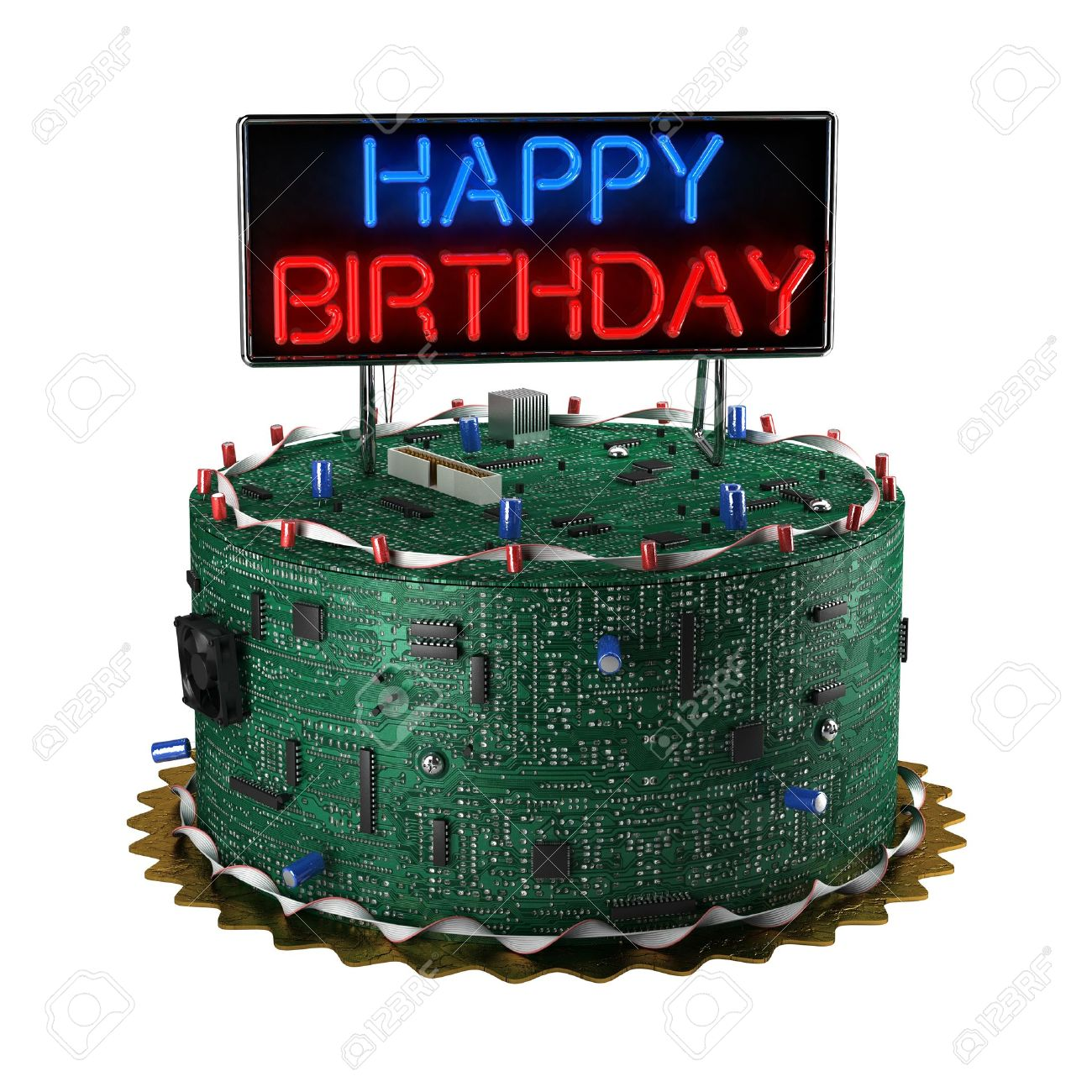 Remarkable Fun Birthday Cake For Geeks Isolated Over White Background Stock Funny Birthday Cards Online Inifofree Goldxyz