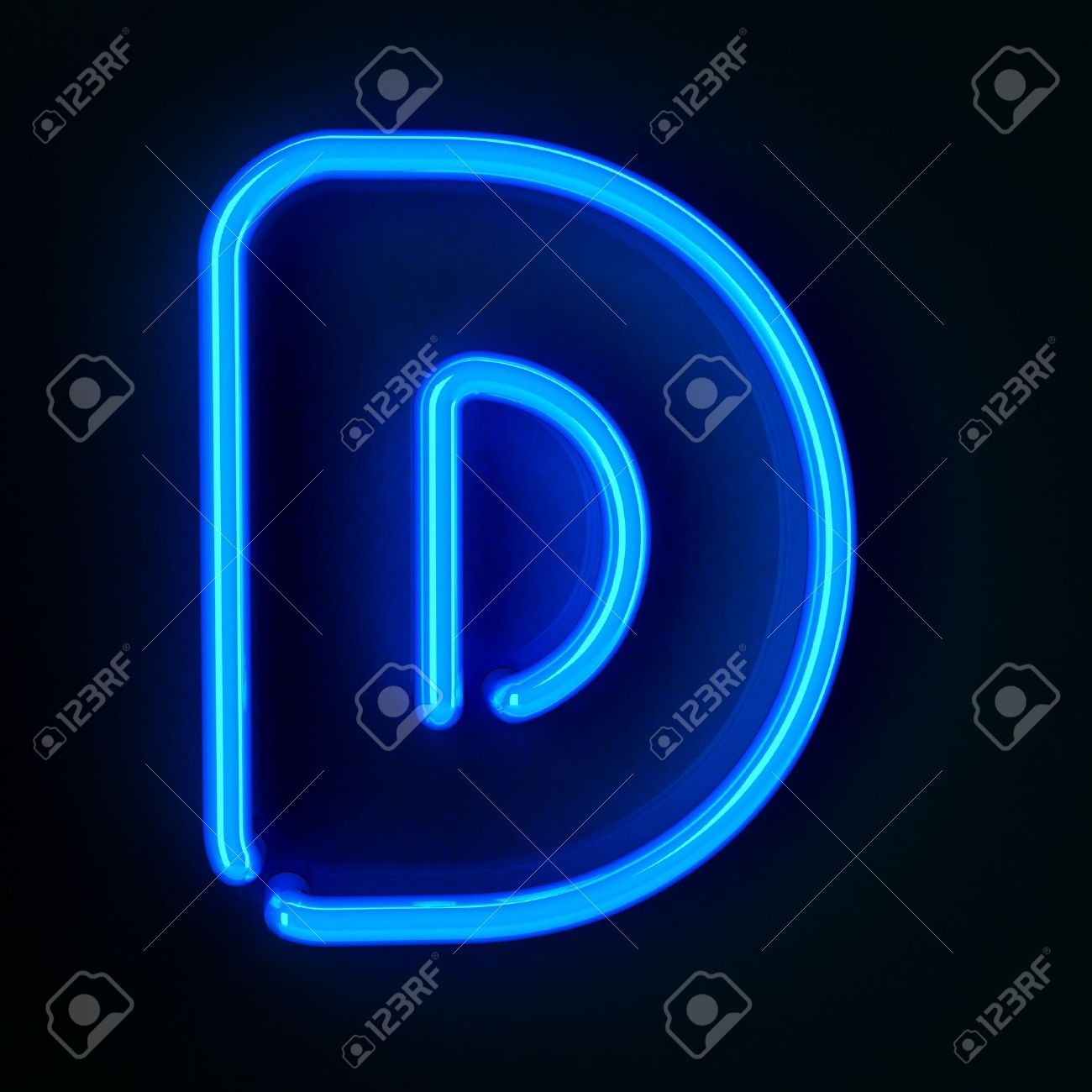 Etonnant Highly Detailed Neon Sign With The Letter D Stock Photo   12179405