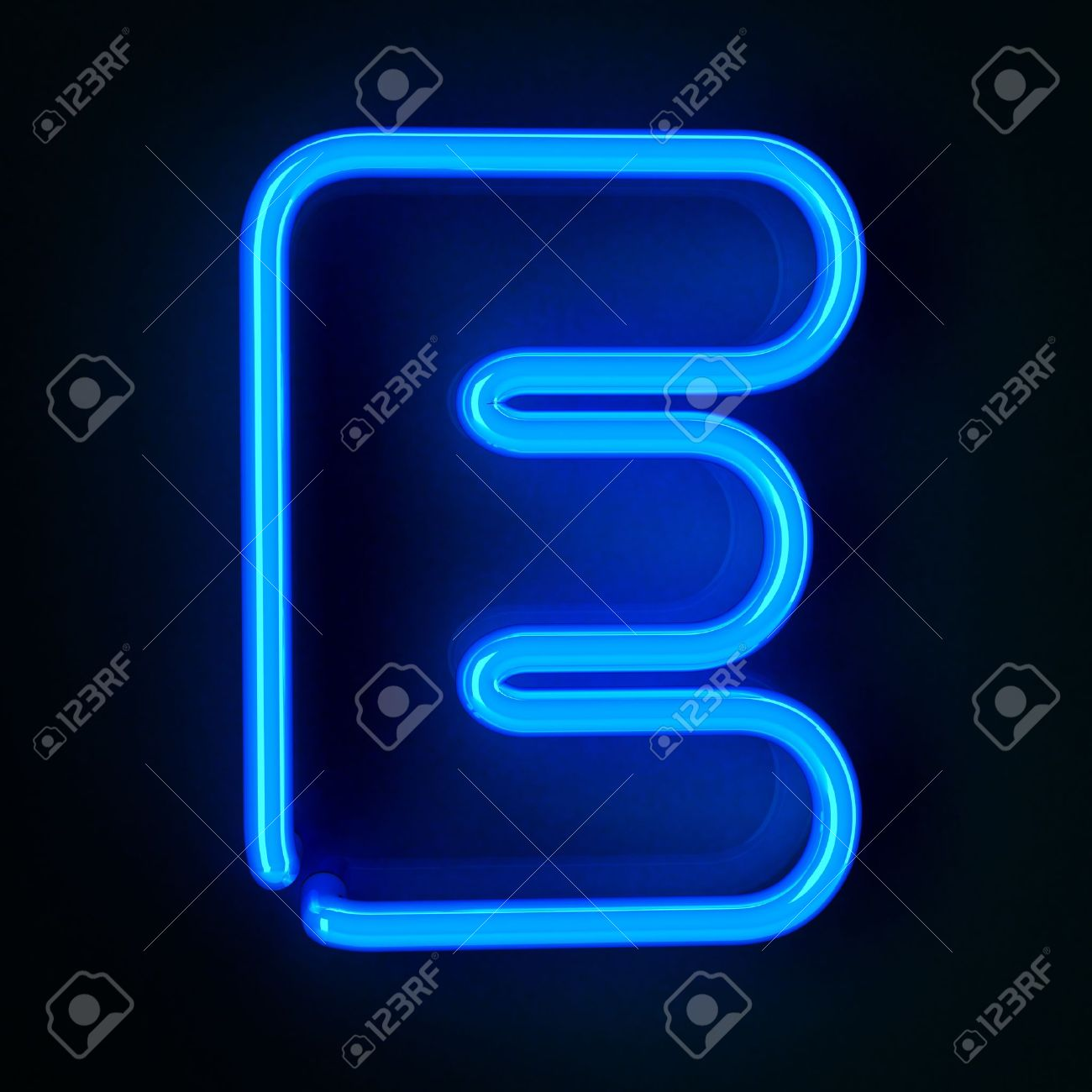 Highly detailed neon sign with the letter E Stock Photo - 12179404