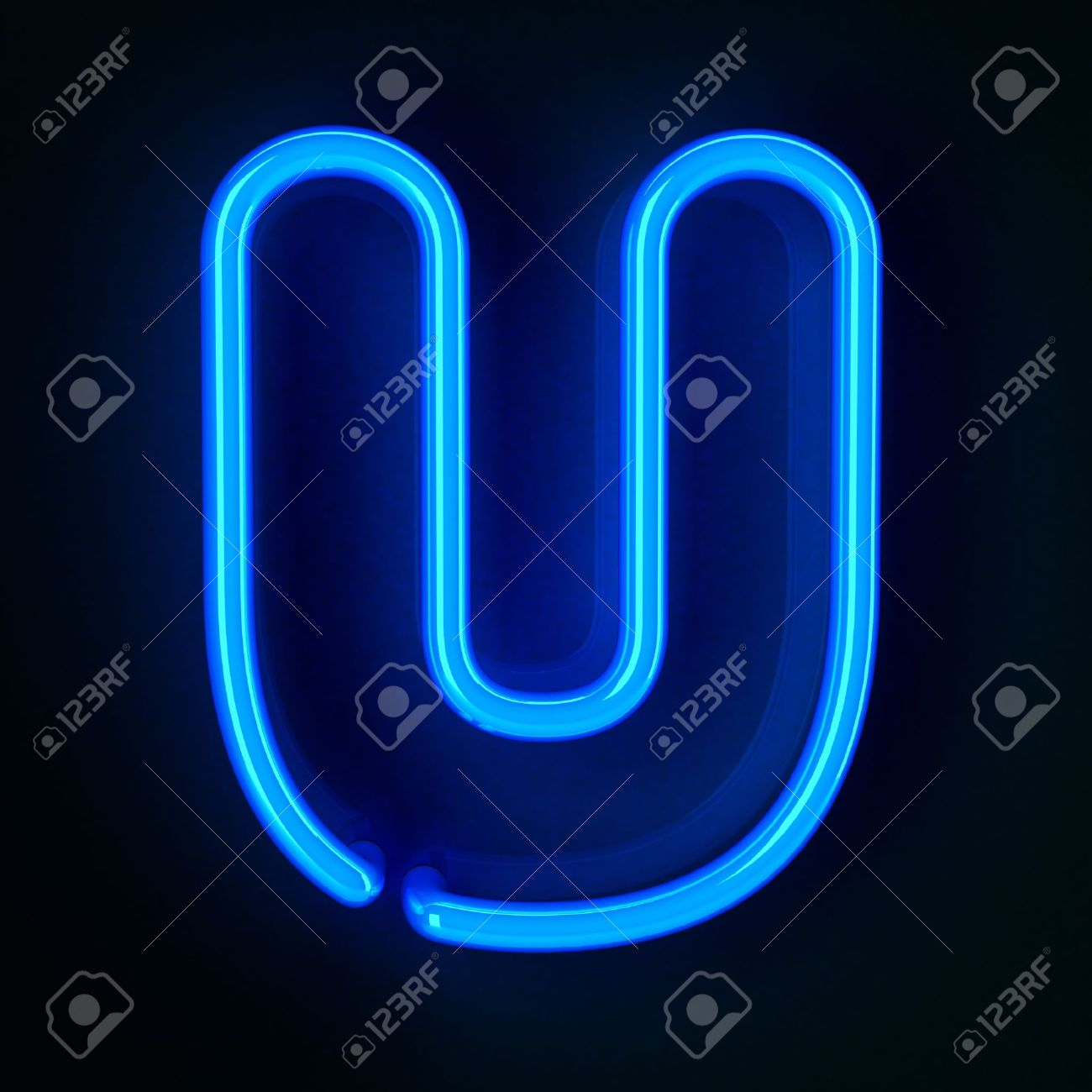 Highly Detailed Neon Sign With The Letter U Stock Picture