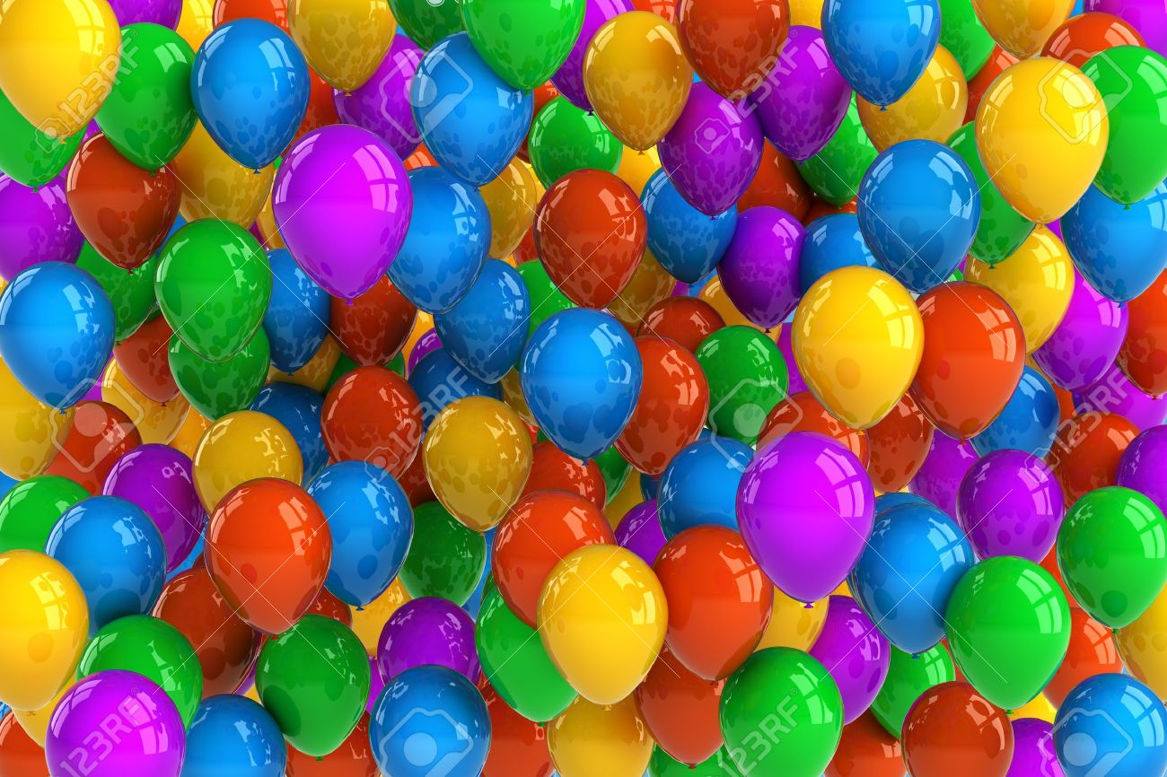 Colorful Party Balloon Background With Dozens Of Balloons Stock