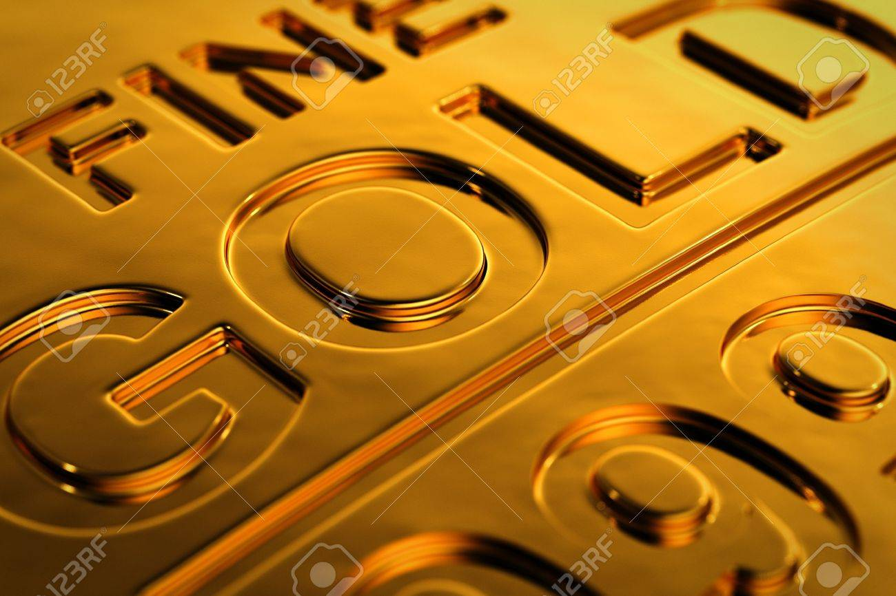 Close-up view of a gold bar with shallow depth of field. Stock Photo - 15195305