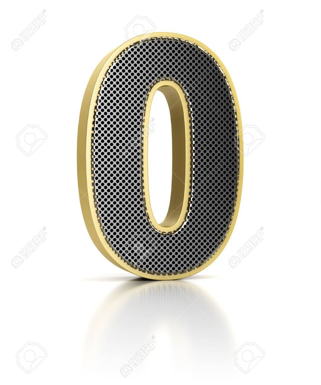 The number zero as a shiny metal object over white Stock Photo - 15687423