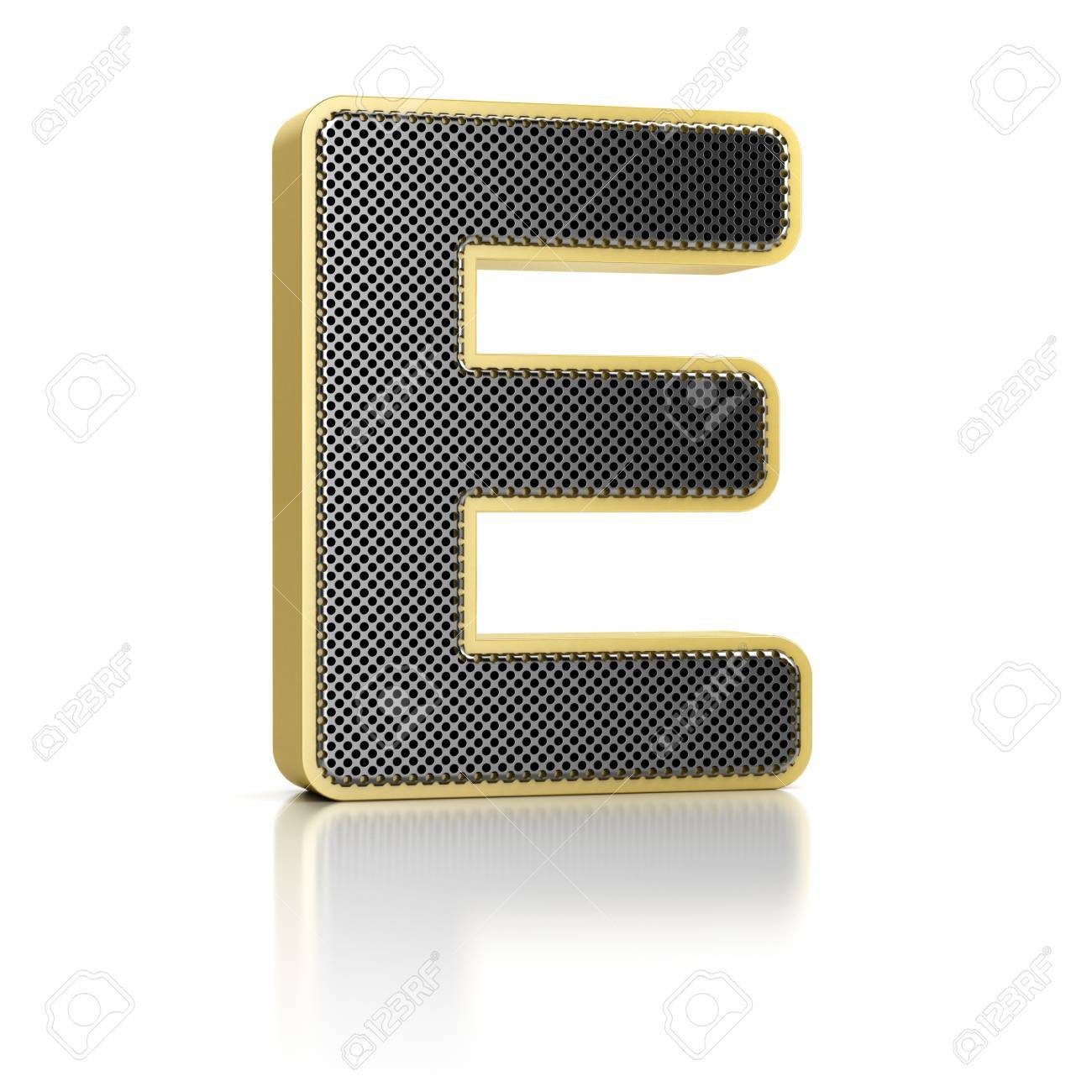 The letter E as a perforated metal object over white Stock Photo - 15750039
