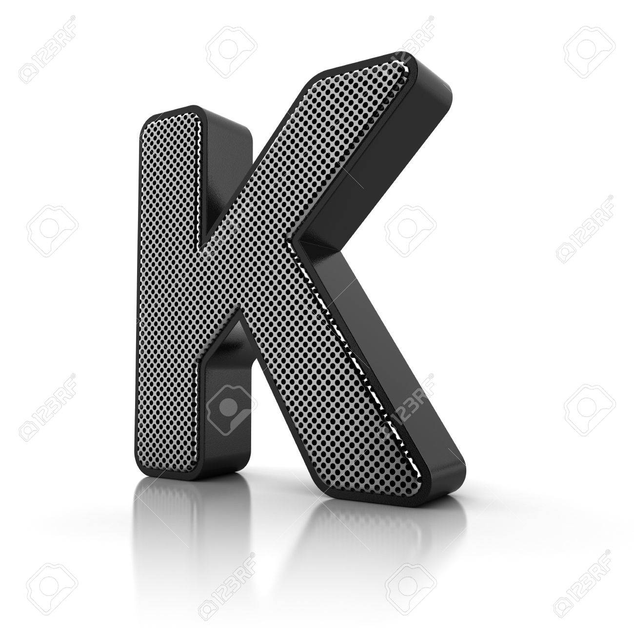 The letter K as a perforated metal object over white Stock Photo - 15916586