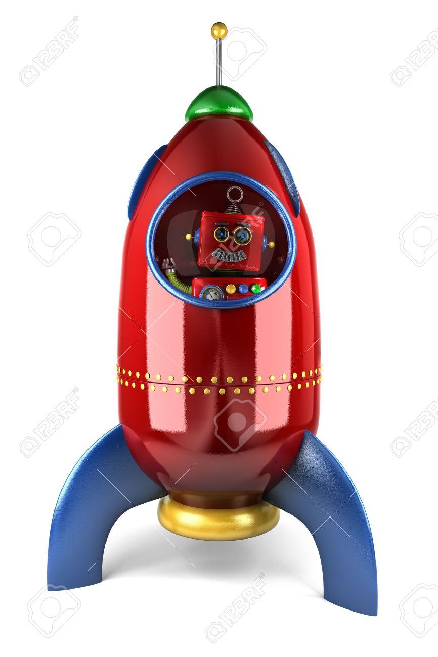 feliz robot juguetes antiguos saludando desde el interior de un cohete de juguete sobre fondo blanco