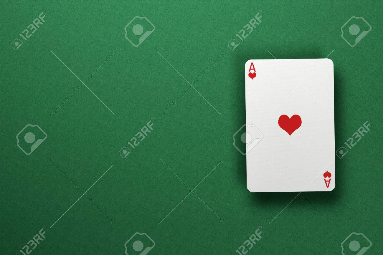 Single Ace Of Hearts Floating Above Green Felt Surface