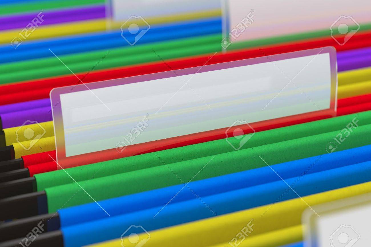 Multi colored hanging folder with blank tag on it Stock Photo - 20171807