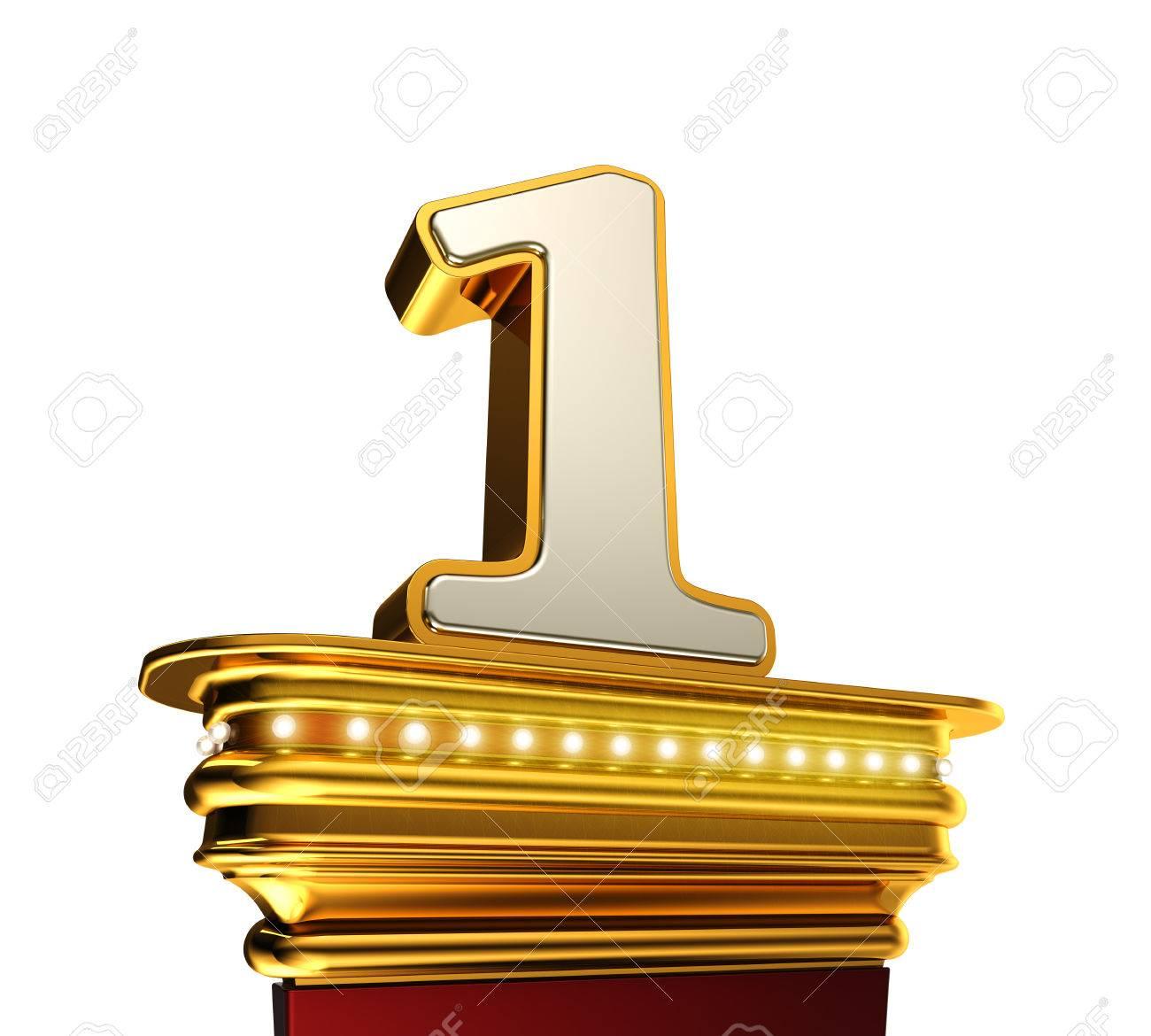 number one on a golden platform with brilliant lights over white