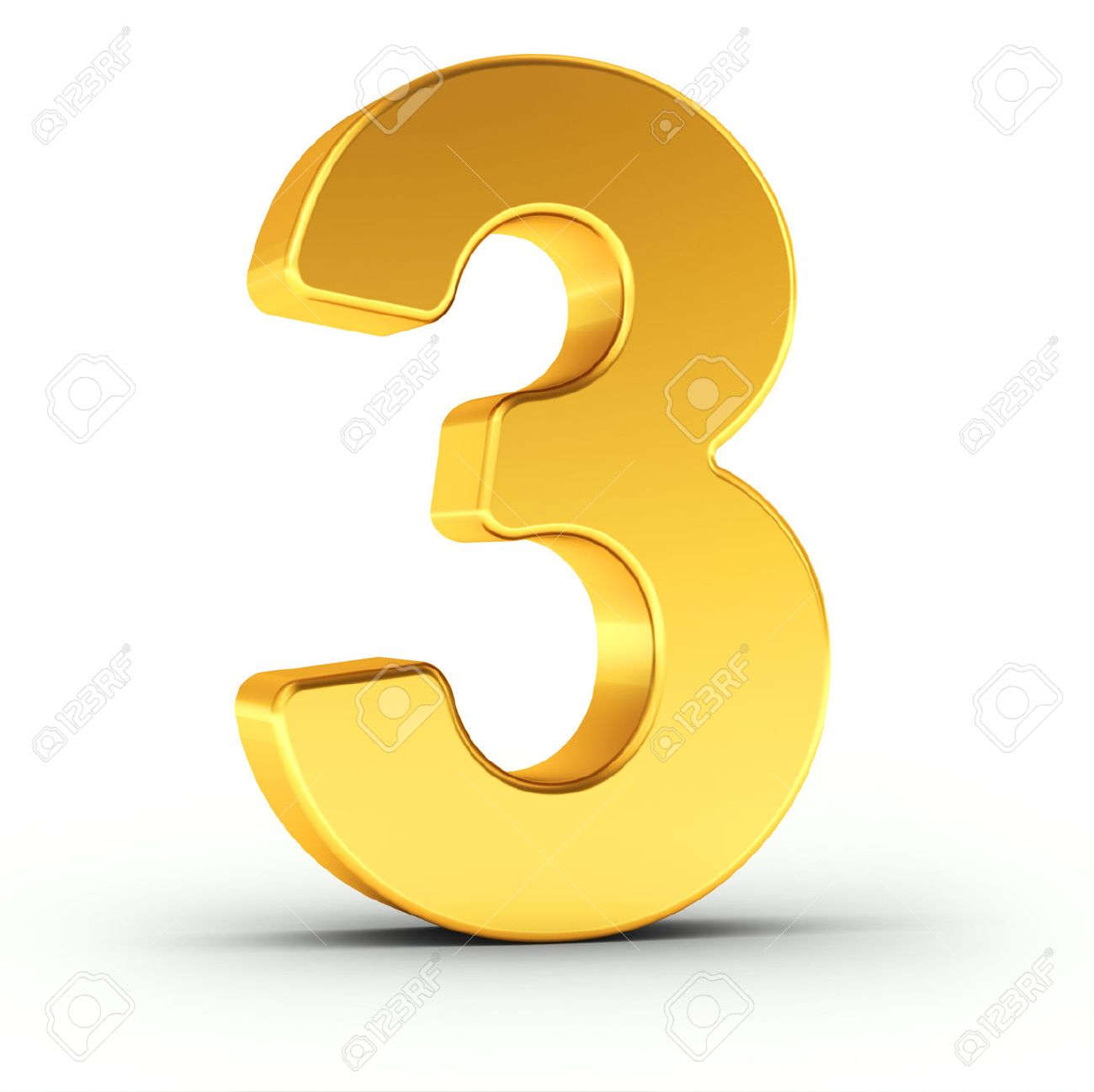 The number three as a polished golden object over white background with clipping path for quick and accurate isolation. - 52778259