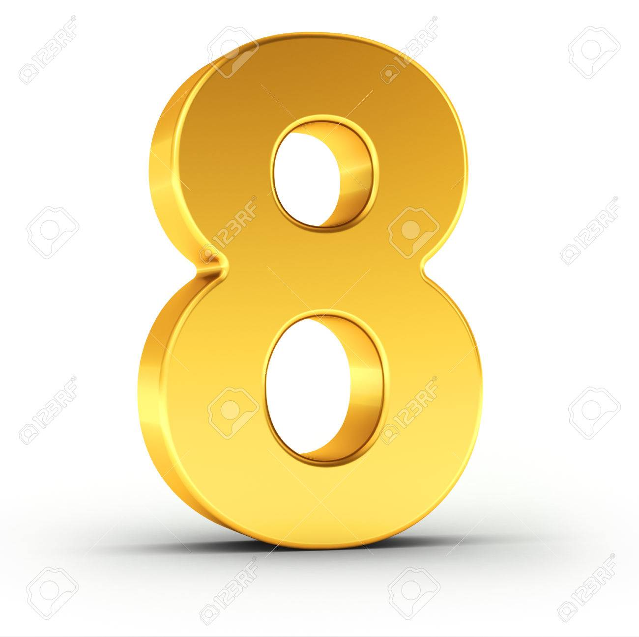 The number eight as a polished golden object over white background with clipping path for quick and accurate isolation. - 52778294