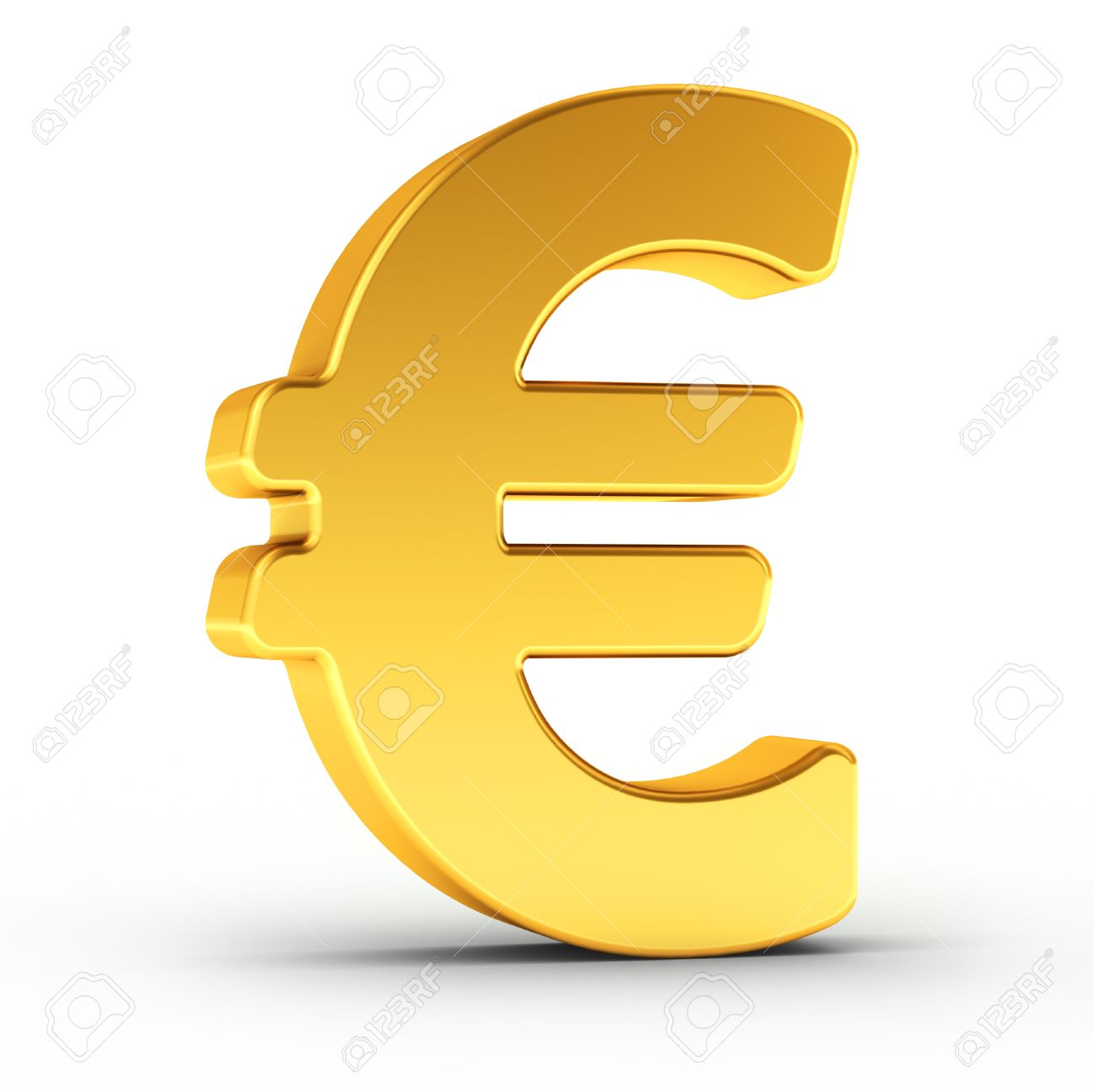 The Euro Symbol As A Polished Golden Object Over White Background