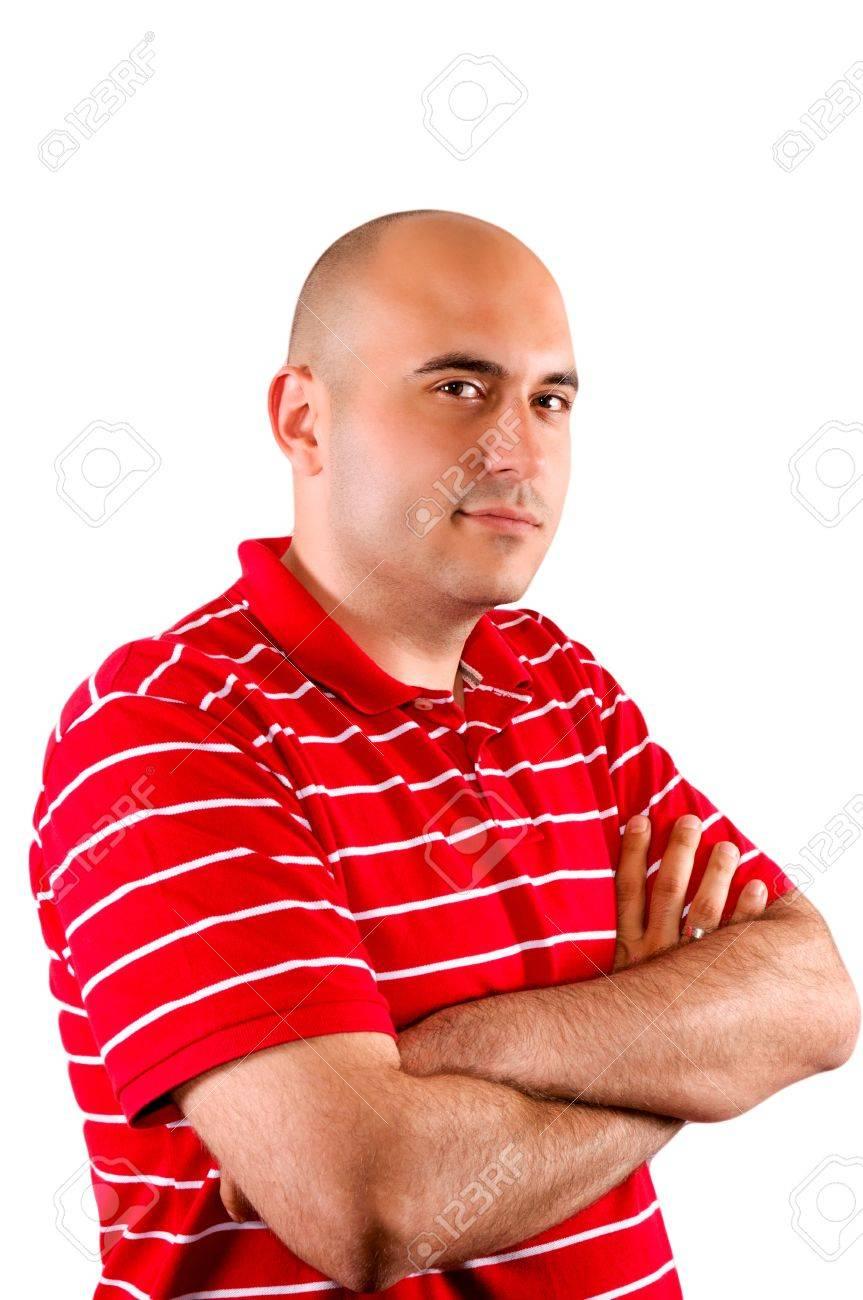 Worried bald guy isolated on white Stock Photo - 14276647