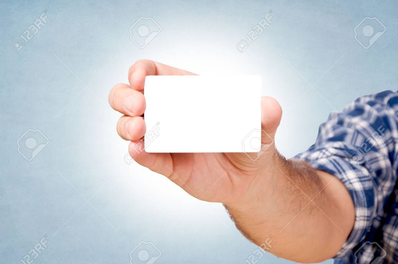 Blank white card in the man hand Stock Photo - 16331292