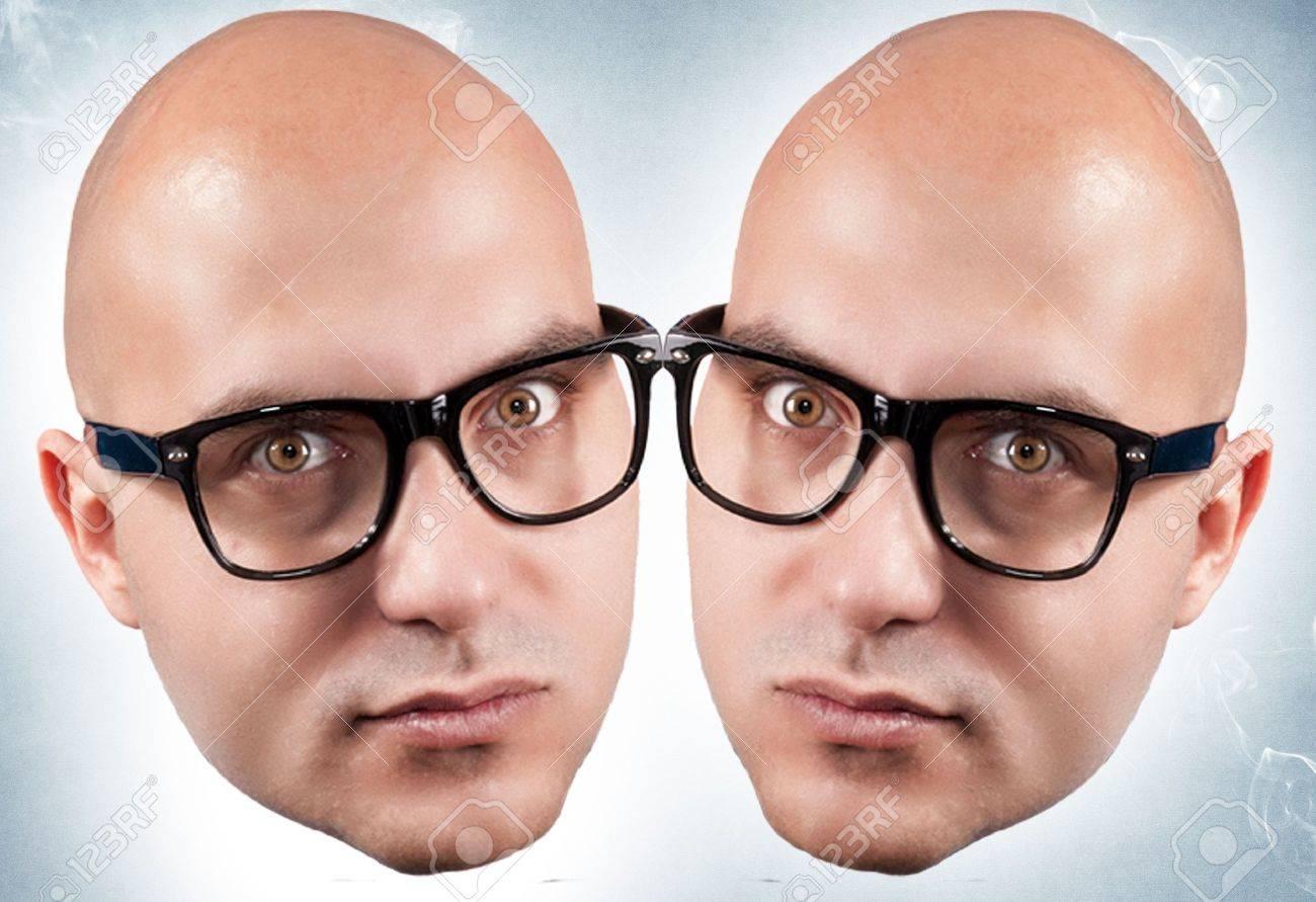 Bald twins on blue background Stock Photo - 16733279
