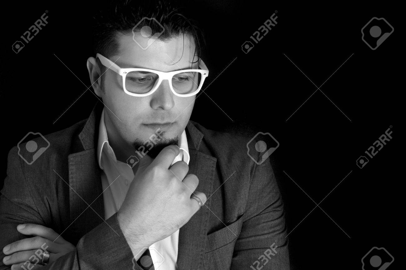 Male portrait in low key and black and white Stock Photo - 19562575