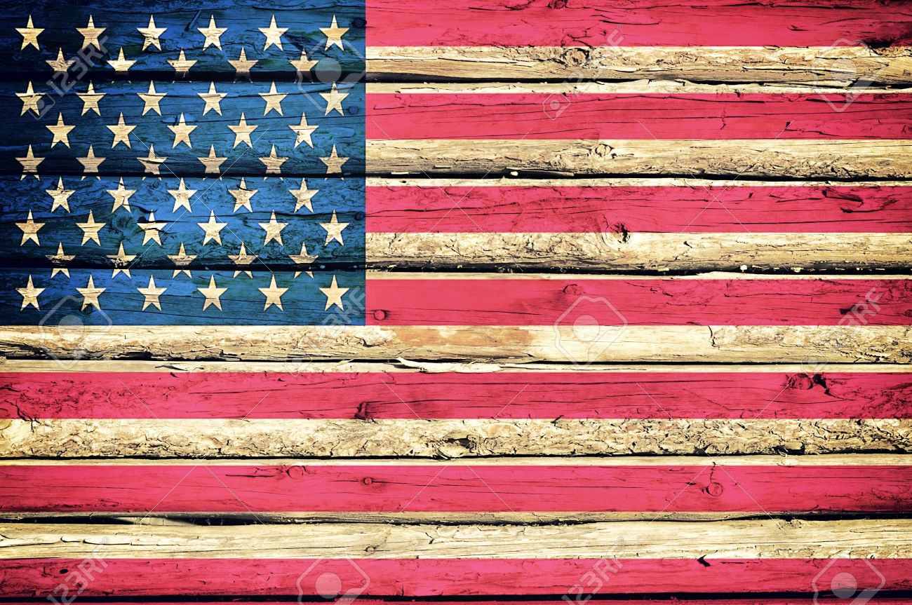 Abstract American Flag On The Wooden Background Stock Photo