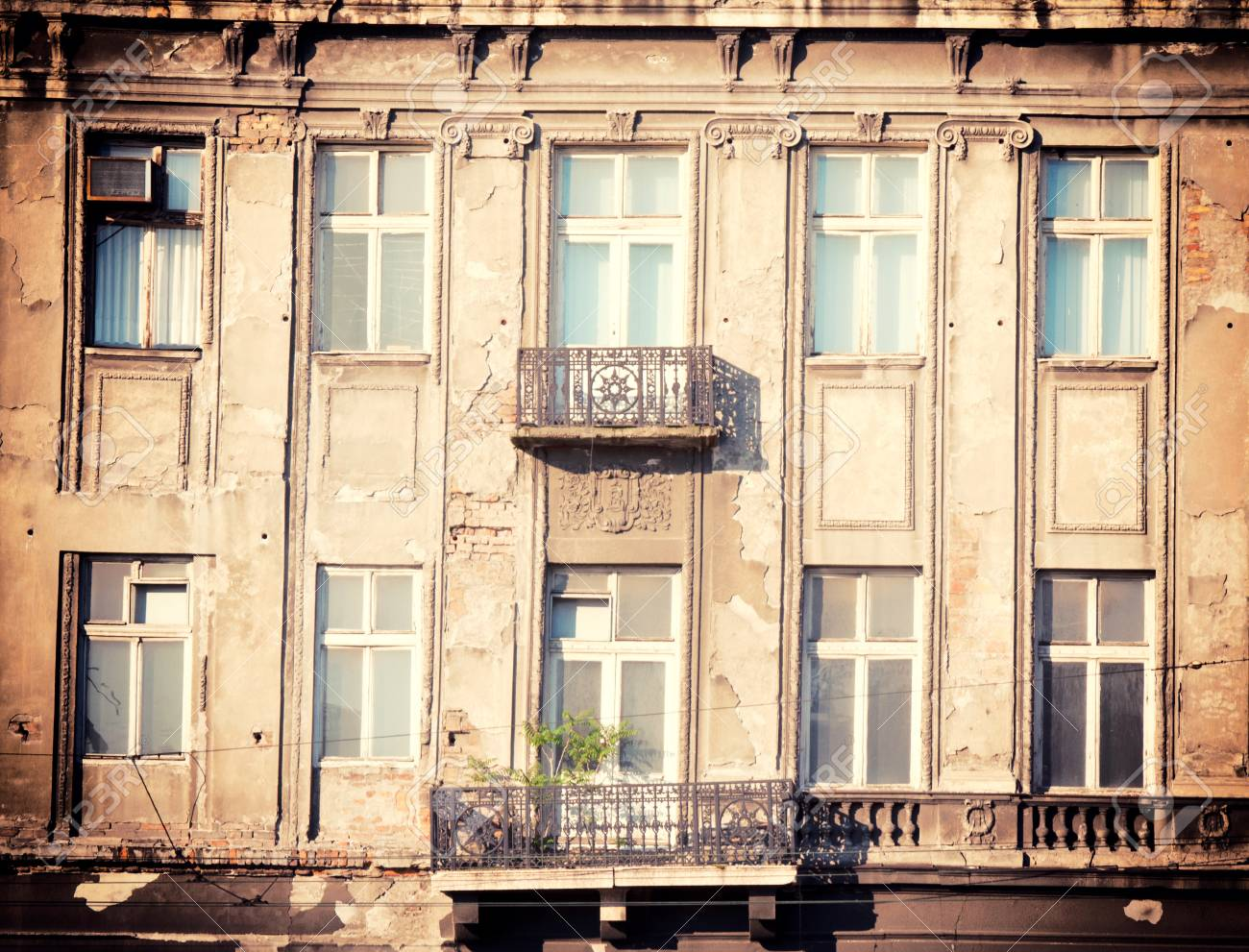 Two old type balcony on the aged building  Stock Photo - 21310283