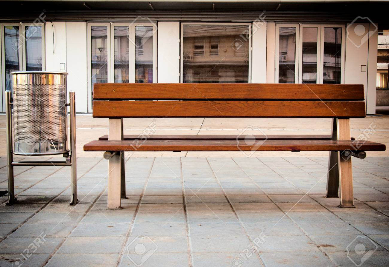 Cool Empty Wooden Bench In The City Block Evergreenethics Interior Chair Design Evergreenethicsorg
