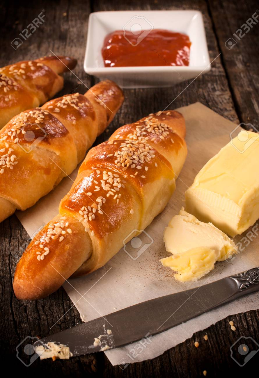 selective focus on the front homemade butter croissant Stock Photo - 25767892