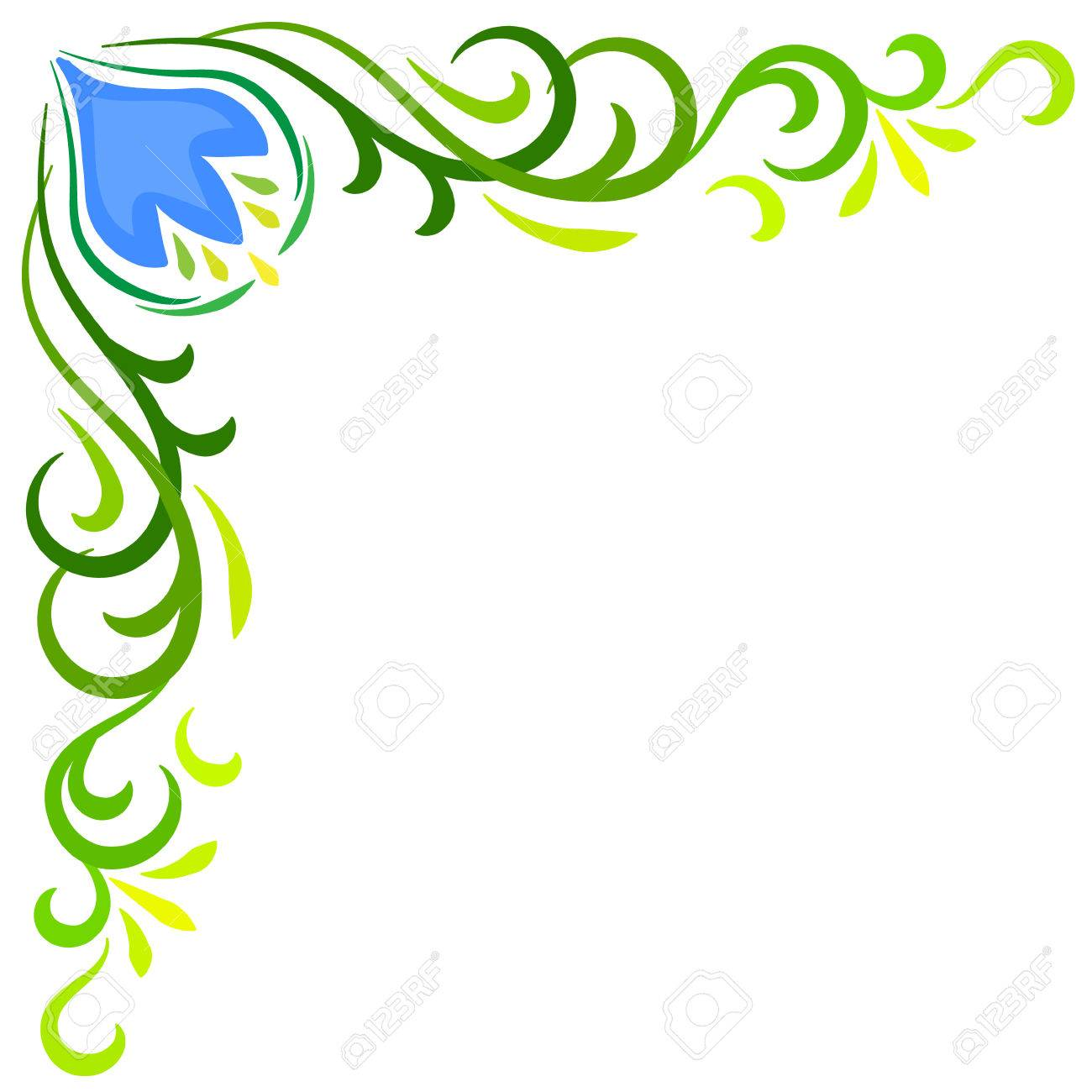 Doodle Vector Color Abstract Flower Corner Frame Stock