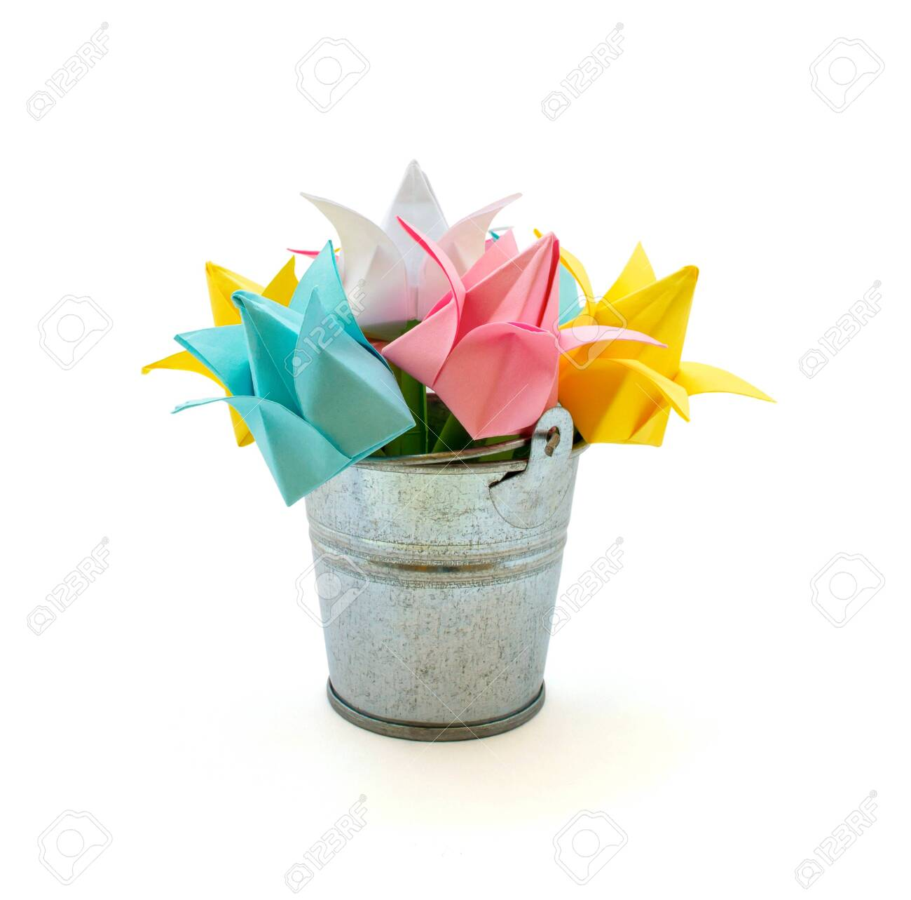 Photo Of Many Beautiful Colored Paper Flowers In The Small Bucket Stock Photo Picture And Royalty Free Image Image 122588716