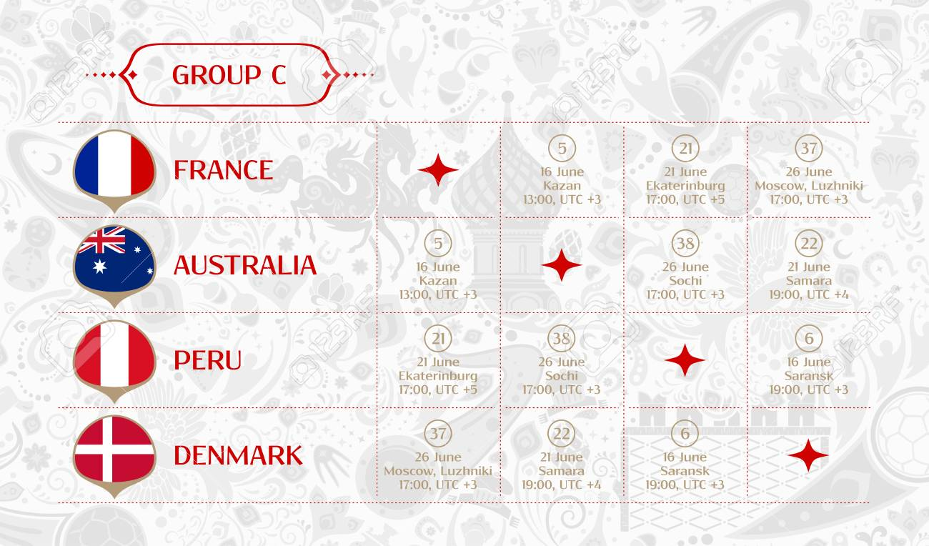 Match schedule group C, 2018 final draw results table, flags of countries  participating to the international soccer tournament in Russia, vector