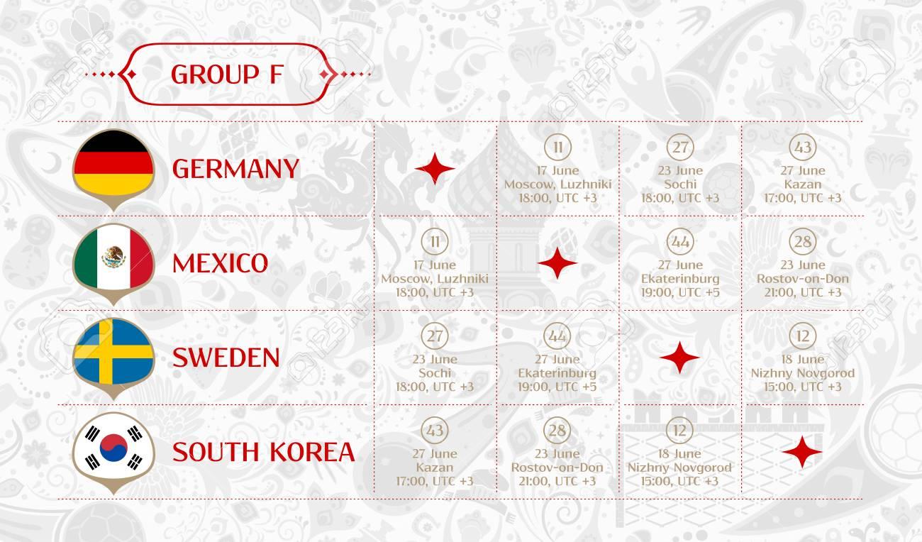 Match Calendrier Groupe F 2018 Tableau Des Resultats Du Tirage Final Les Drapeaux Des Pays Participant Au Tournoi International De Football En