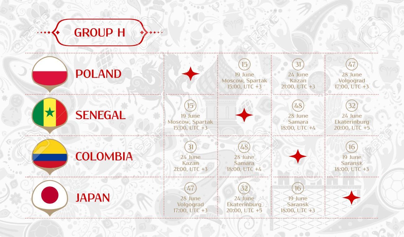 Match Calendrier Groupe H 2018 Tableau Des Resultats Du Tirage Final Les Drapeaux Des Pays Participant Au Tournoi International De Football En