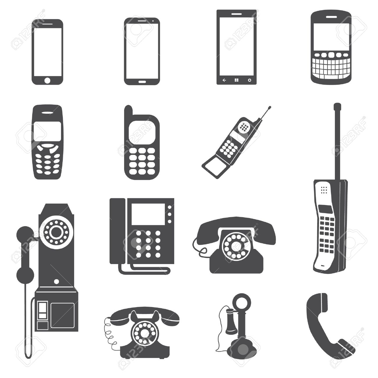 Evolution of telephone icon set - 29465306