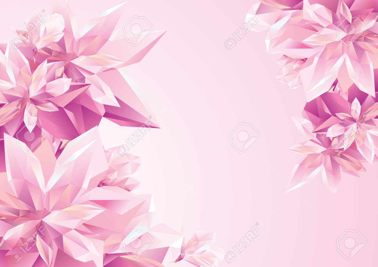 template for congratulation postcard crystal pink flowers polygon