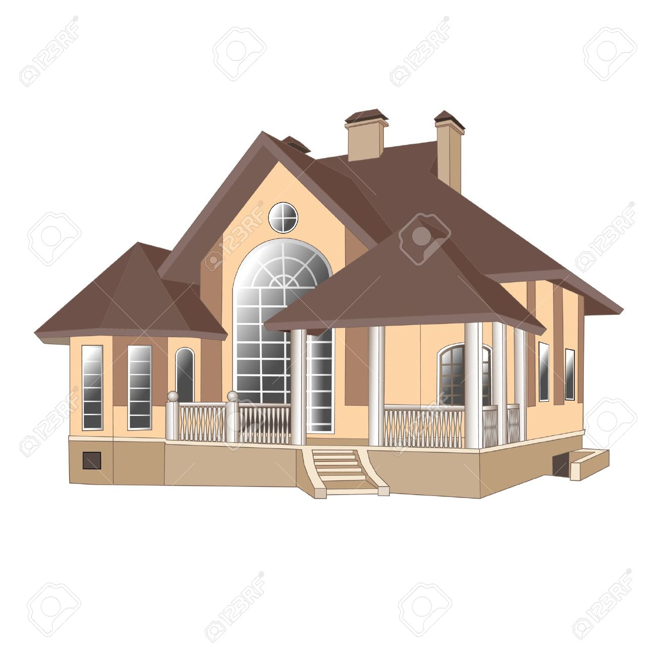 illustrations buildings vector cottage painting house