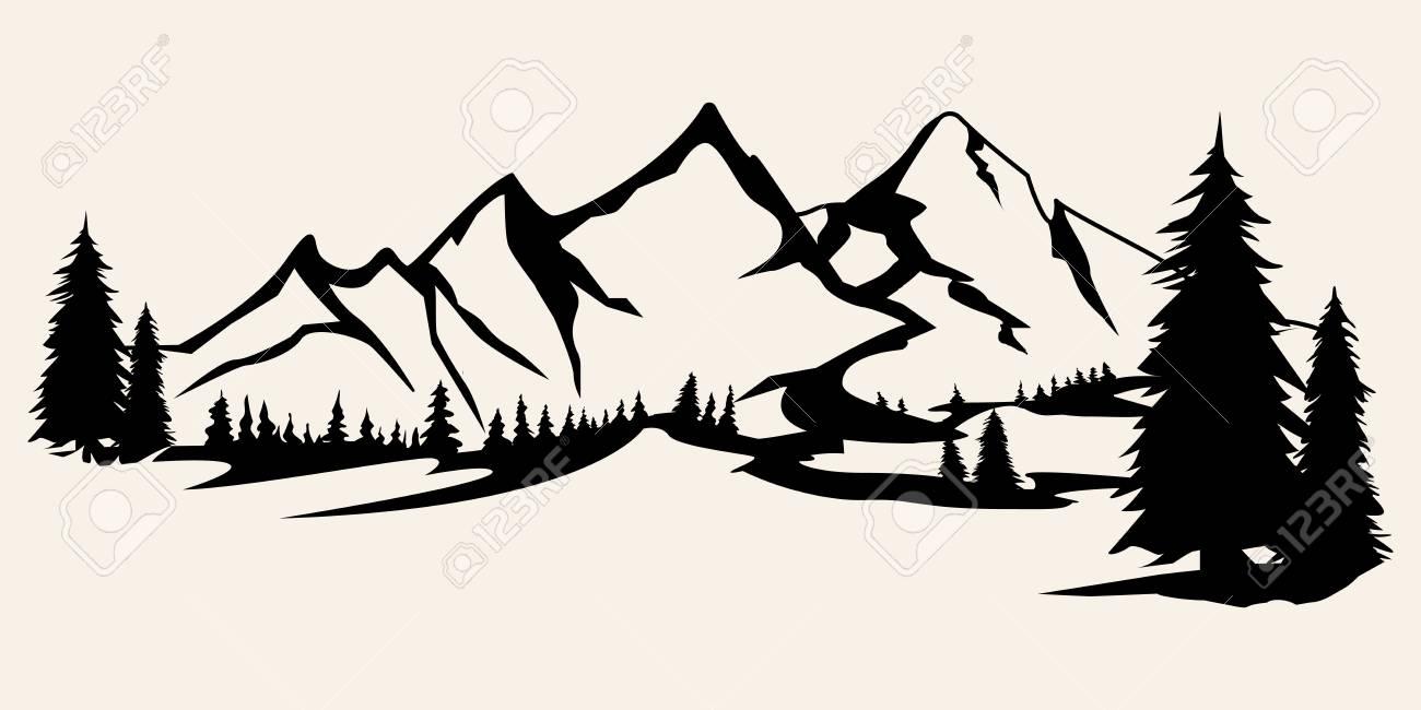 Mountains silhouettes. Mountains vector, Mountains vector of outdoor design elements, Mountain scenery, trees, pine vector, Mountain scenery. - 115580150