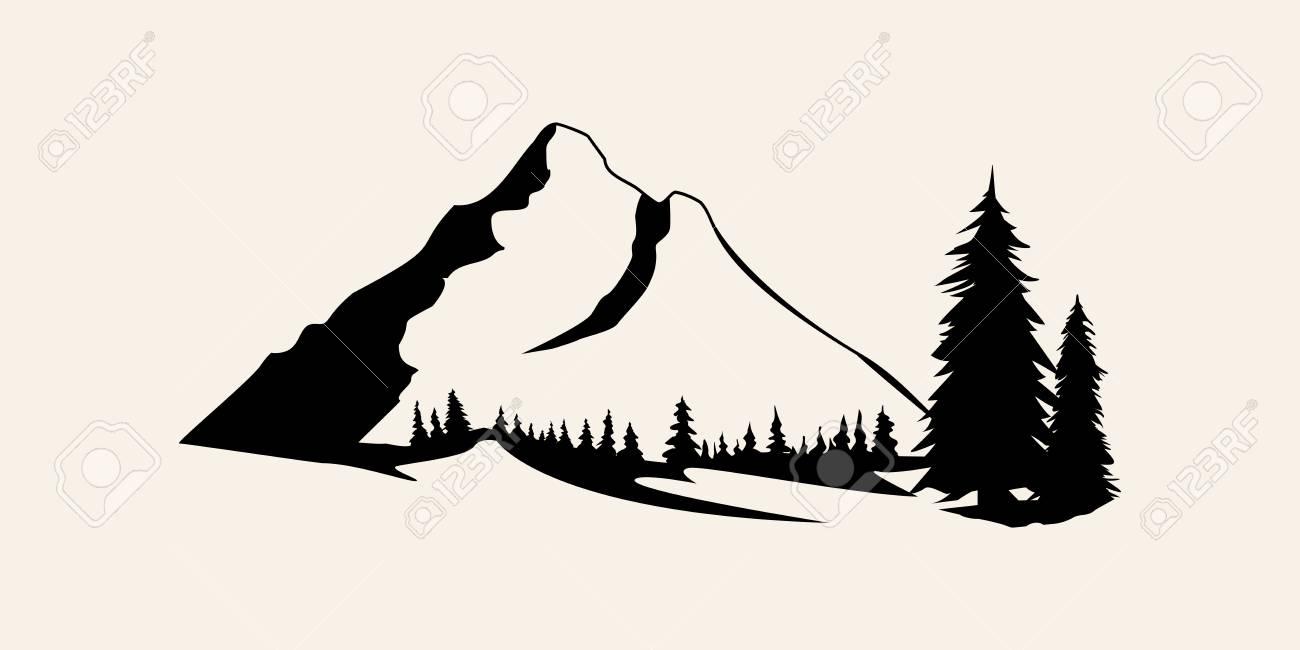 Mountains silhouettes. Mountains vector, Mountains vector of outdoor design elements, Mountain scenery, trees, pine vector, Mountain scenery. - 125984754