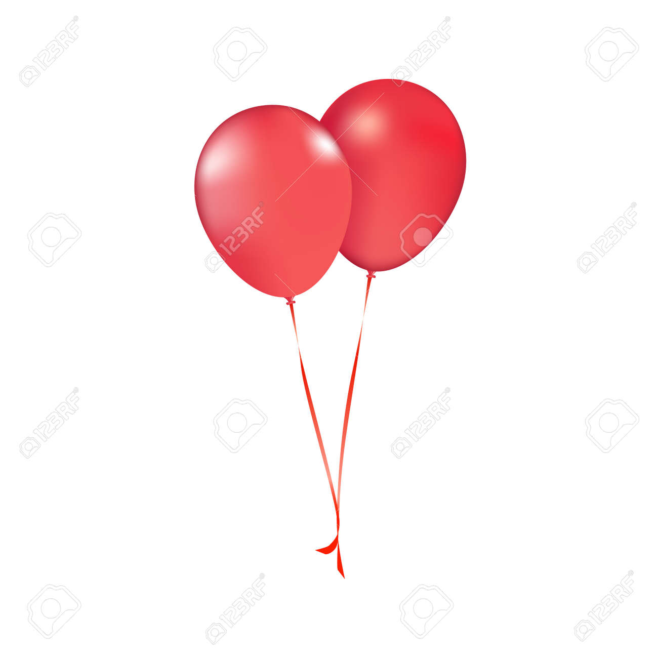 Party vector balloons red birthday balloon modern holiday decoration balloons anniversary retirement graduation occasion life events greeting card. Joy positive abstract. Vector realistic red balloons - 166911463