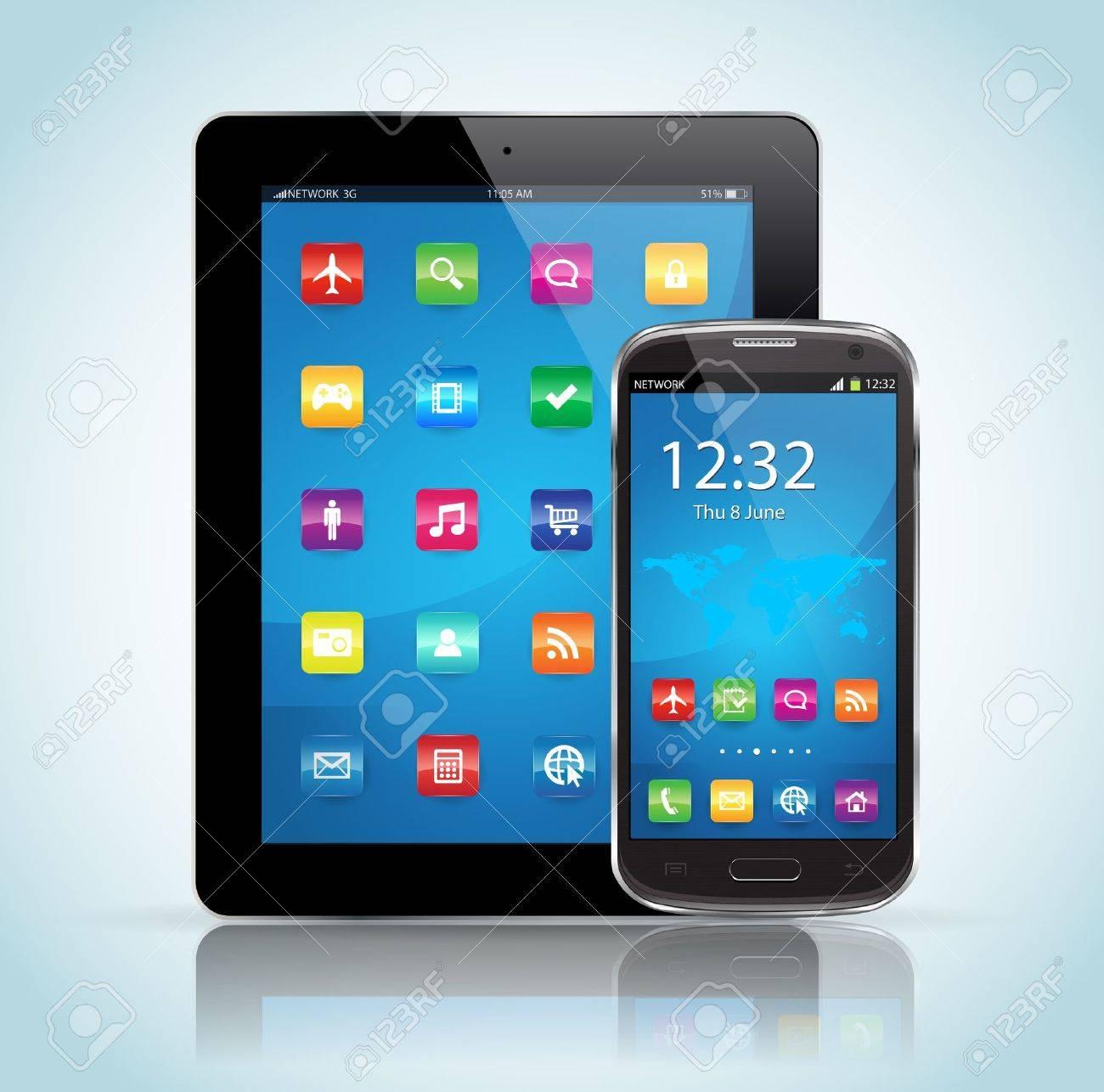 Cette image représente une tablette et un smartphone et tablette SmartPhone