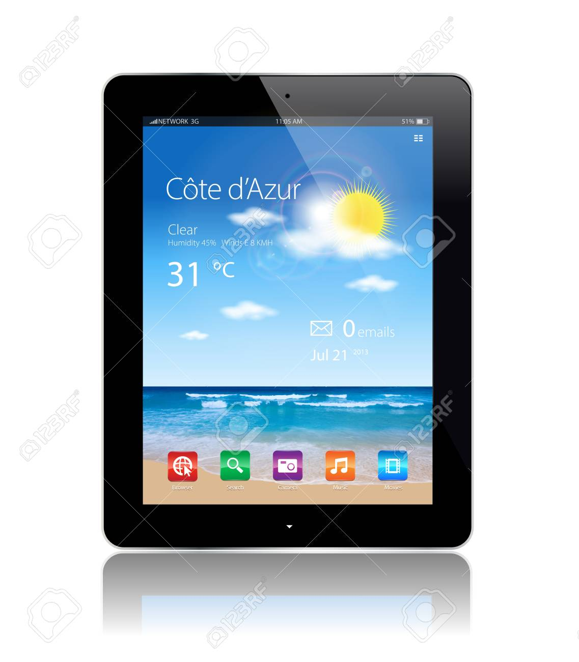 This image represents a Tablet with a beach background Stock Vector - 19116136