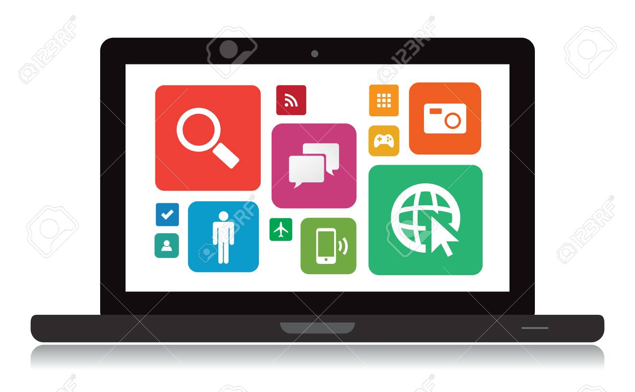 This image is a vector file representing a laptop with app icons. Stock Vector - 24912679