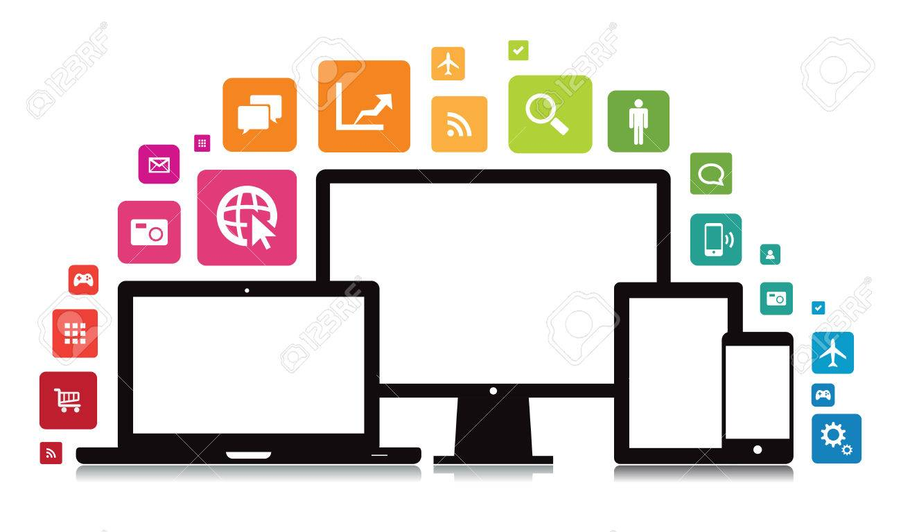 This image is a vector file representing a set of media technology devices with app icons. Stock Vector - 24913185