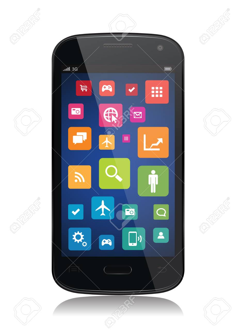 This image is a vector file representing a collection of apps on a smartphone. Stock Vector - 27552358