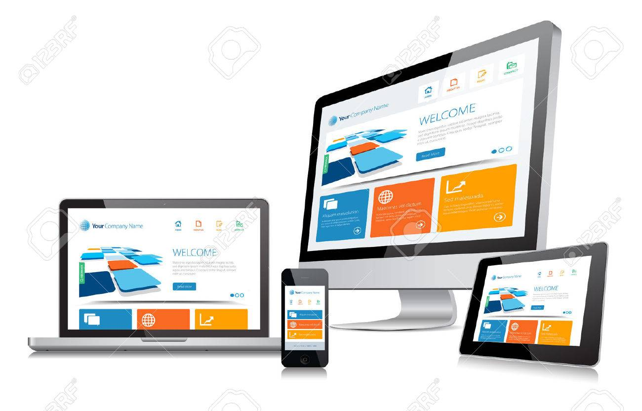 This image is a vector file representing a responsive design concept on various media devices. Stock Vector - 27552364
