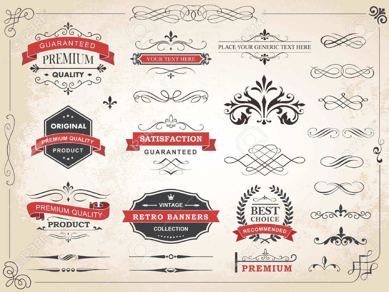 Vector illustration of calligraphic vintage label ornament divider vector design elements and page decoration Stock Vector - 46736026