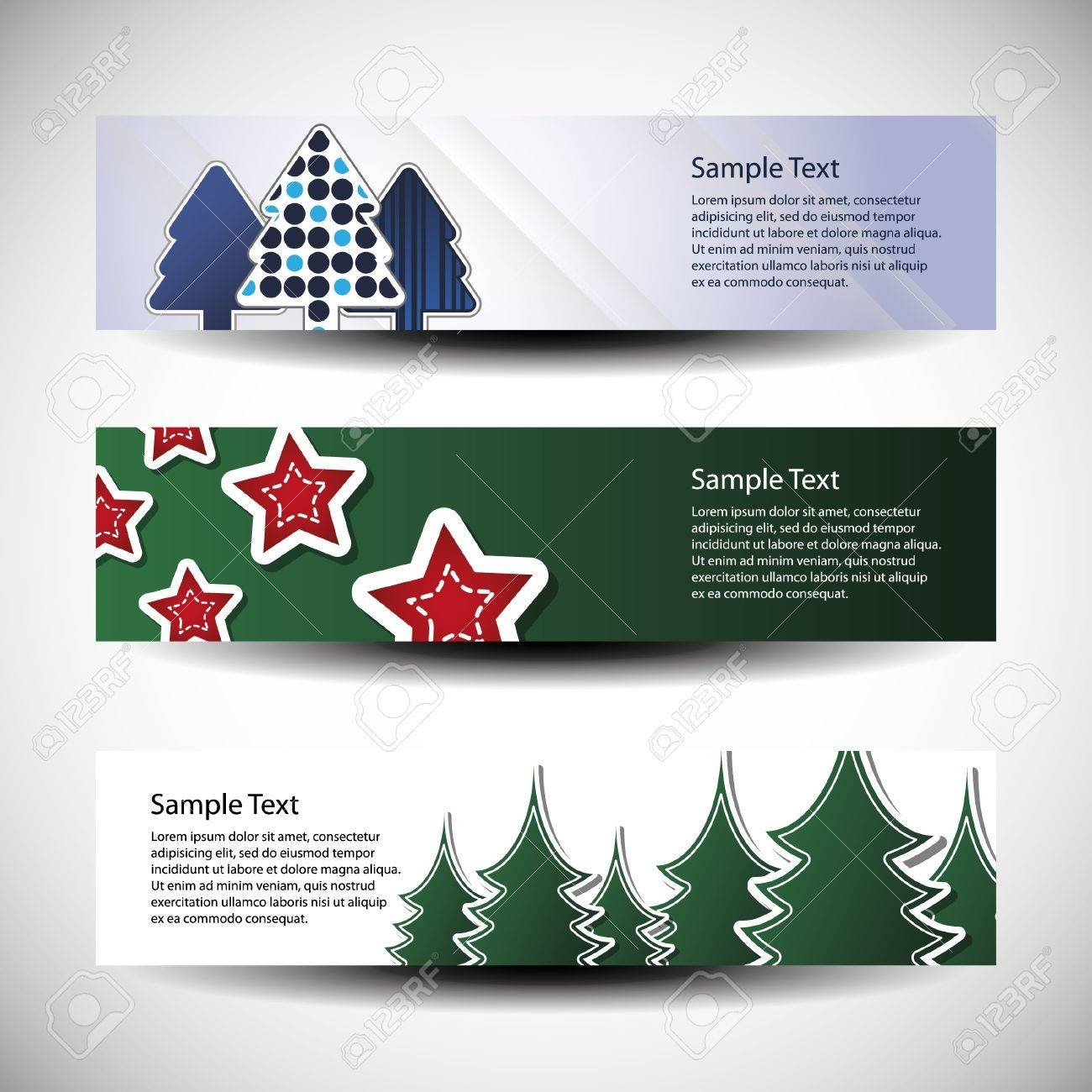 Christmas vector set of three header design Stock Vector - 9897465