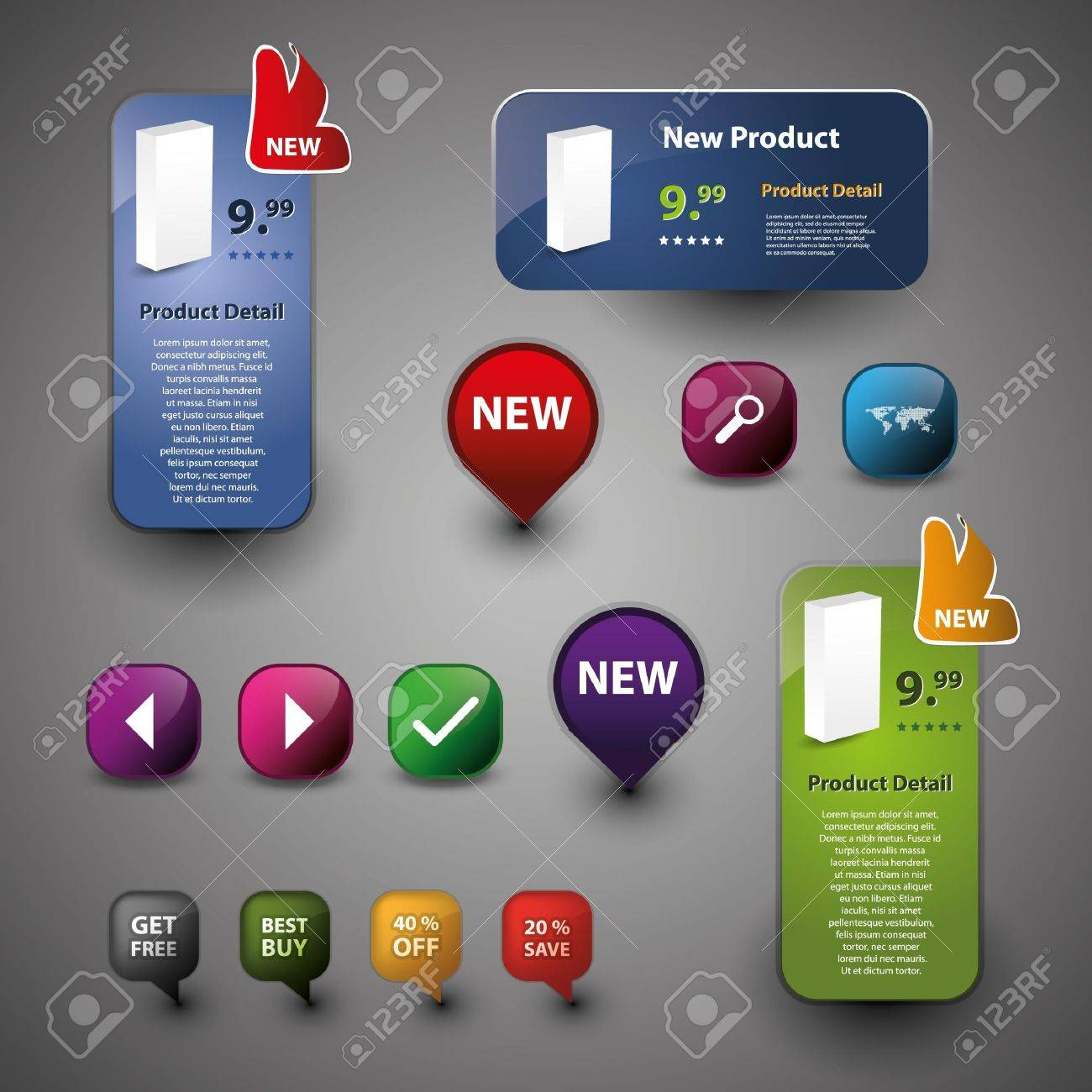 Collection Of Website Elements Stock Vector - 9897331